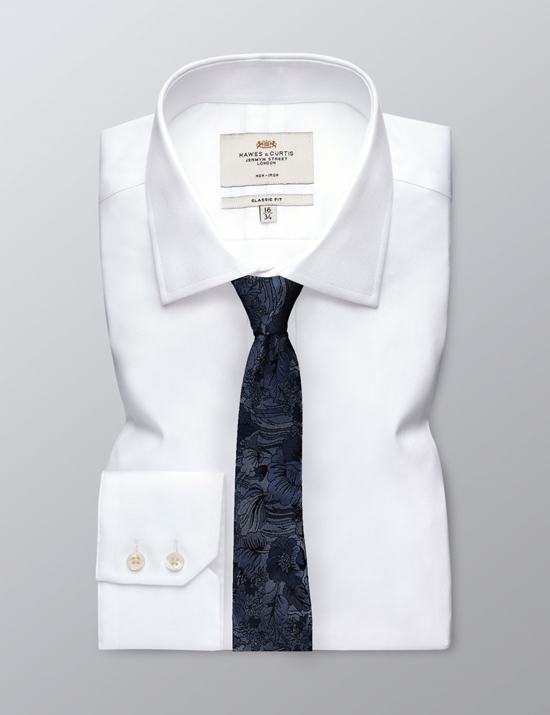 Men's Blue Tonal Floral Tie - 100% Silk
