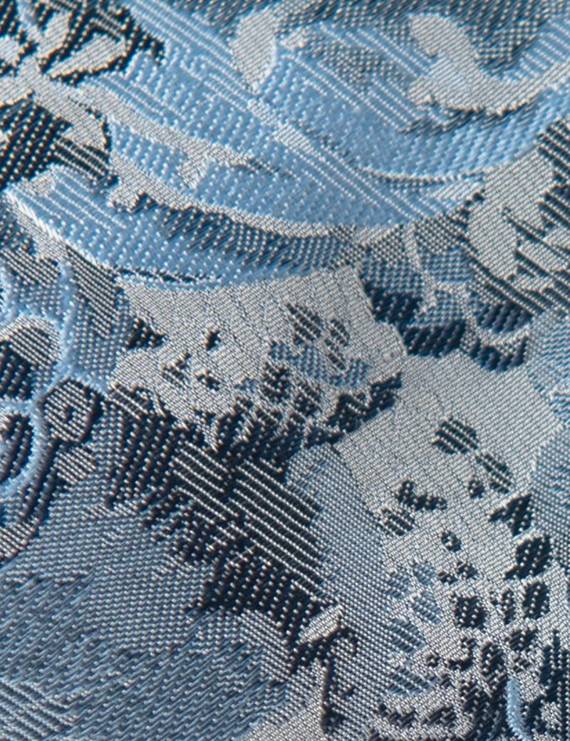 Men's Blue Floral Tie - 100% Silk