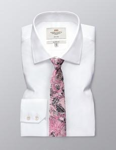 Krawatte – Seide – Schmal – grau rosa florales Muster