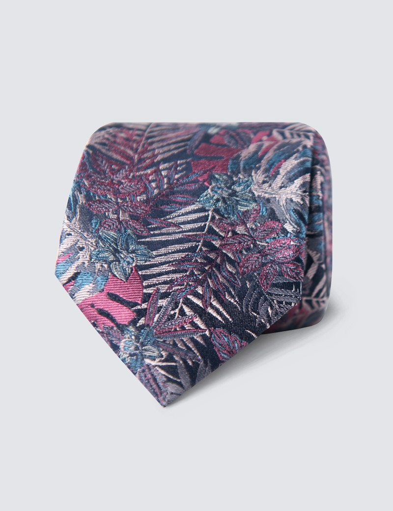 Men's Blue & Pink Floral Tie - 100% Silk