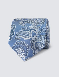 Men's Paisley Light Blue Tie - 100% Silk