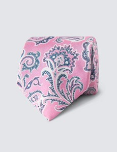 Men's Paisley Light Pink Tie - 100% Silk
