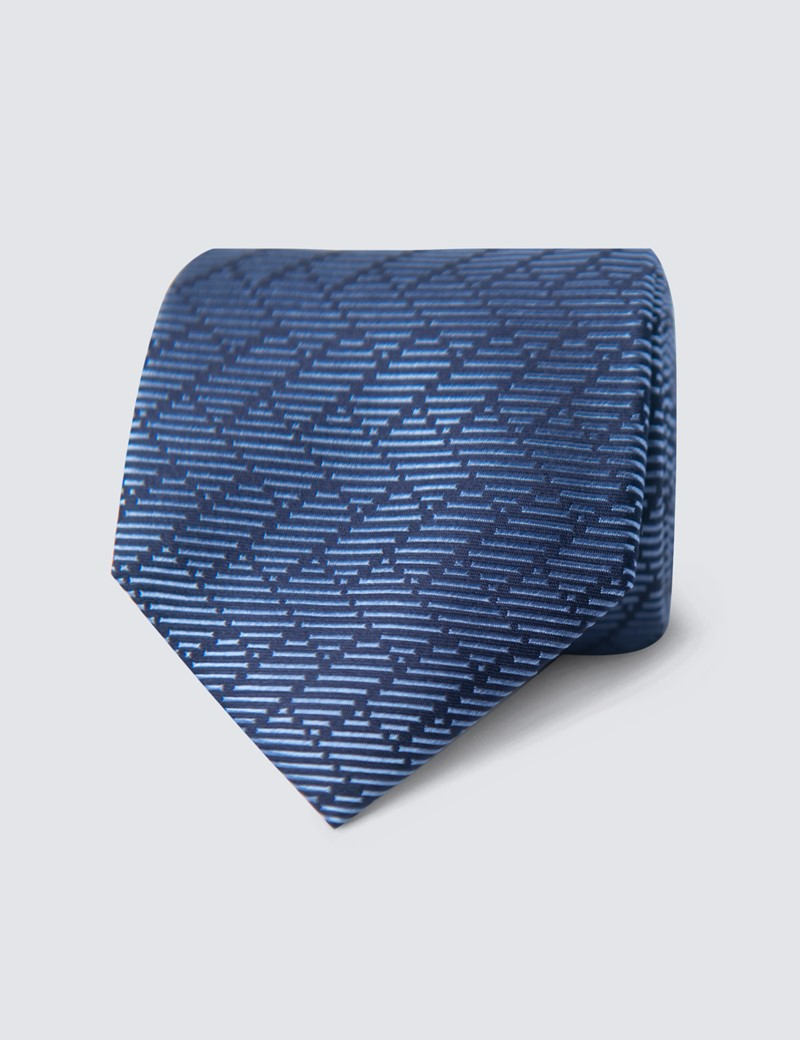Men's Blue Steps Print Tie - 100% Silk