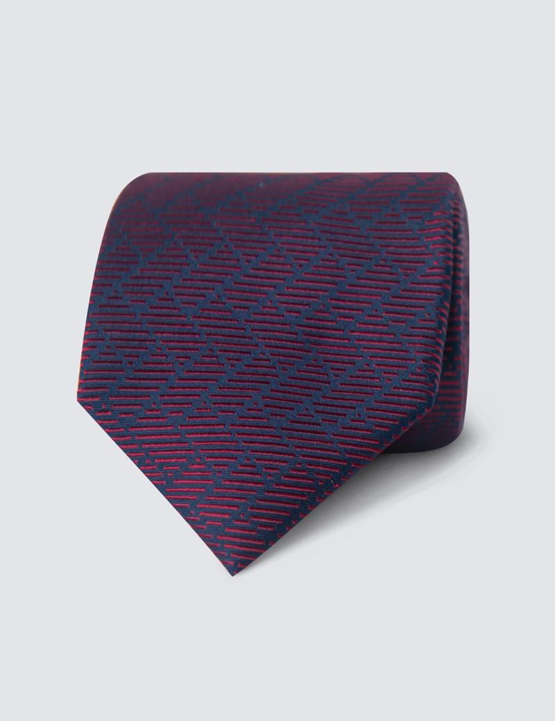 Men's Burgundy Steps Print Tie - 100% Silk