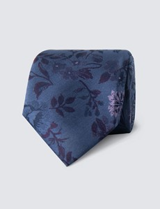 Men's Blue & Purple Contrast Floral Tie - 100% Silk