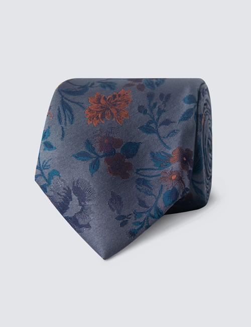 Men's Grey & Orange Contrast Floral Tie - 100% Silk