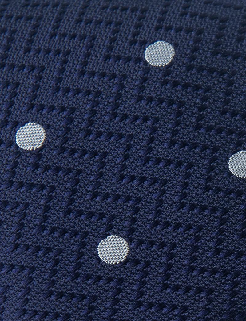 Men's Navy & White Polka Dot Tie - 100% Silk