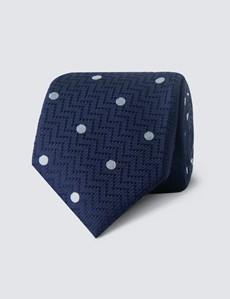 Krawatte – Seide – Schmal – Navy mit Tupfen