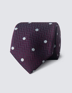 Men's Wine & White Polka Dot Tie - 100% Silk