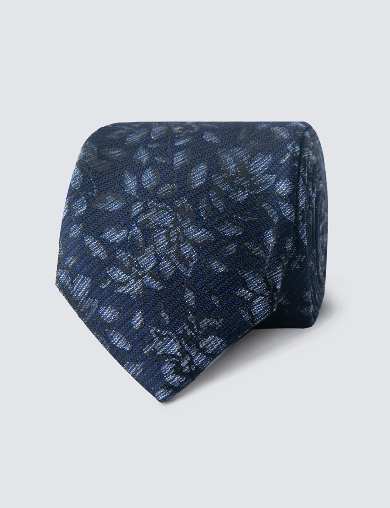 Men's Navy Tonal Floral Tie - 100% Silk
