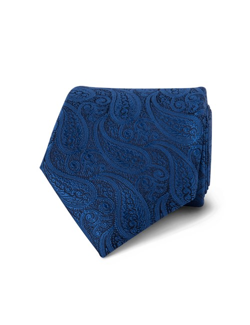 Men's Luxury Royal Blue Paisley Tie - 100% Silk