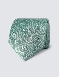 Men's Luxury Forest Green Paisley Tie - 100% Silk