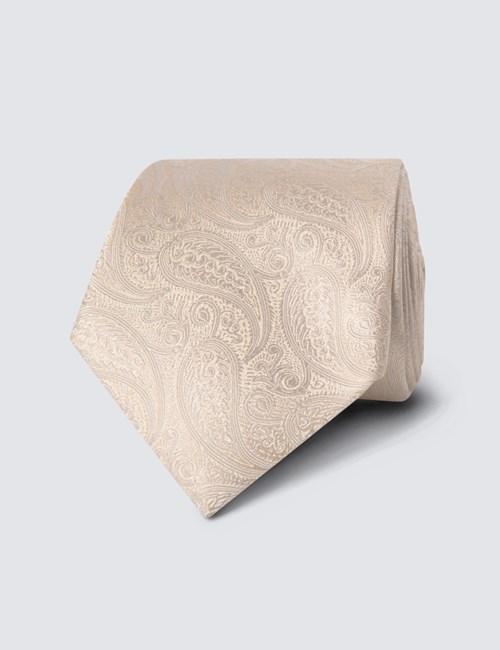 Hochzeits Kollektion – Krawatte – Seide – Paisley creme