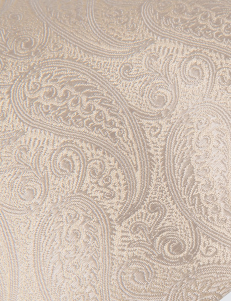Men's Luxury Cream Paisley Tie - 100% Silk