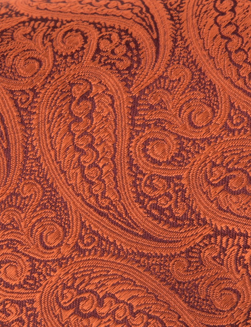 Men's Luxury Orange Paisley Tie - 100% Silk