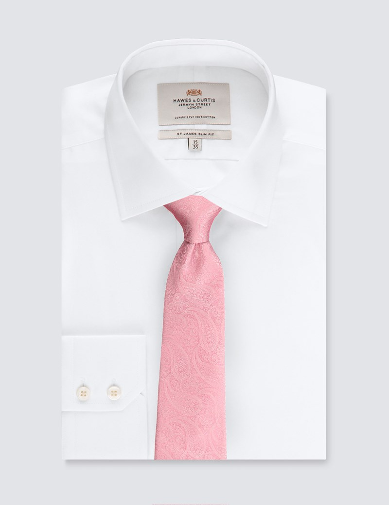 Men's Luxury Pink Paisley Tie - 100% Silk
