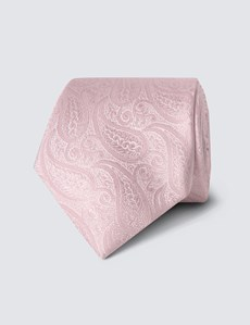 Men's Luxury Light Pink Paisley Tie - 100% Silk