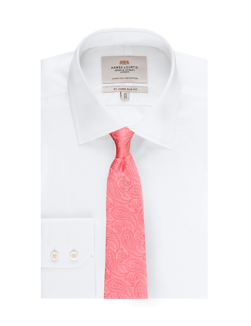 Men's Luxury Coral Paisley Tie - 100% Silk