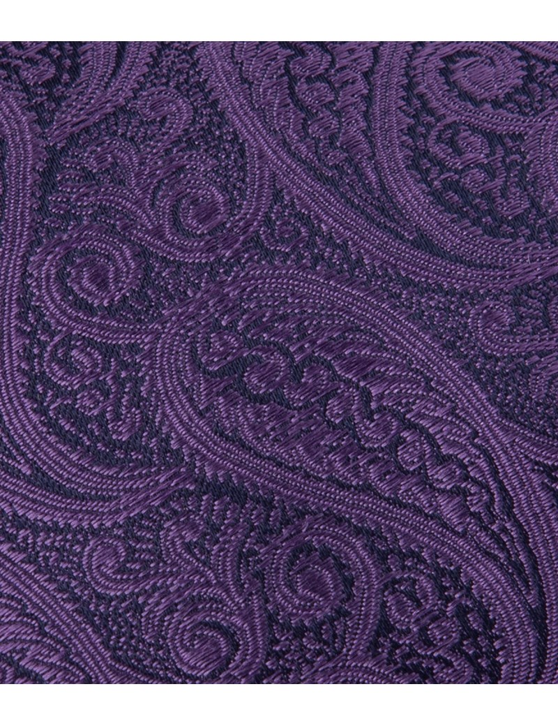 Men's Luxury Purple Paisley Tie - 100% Silk