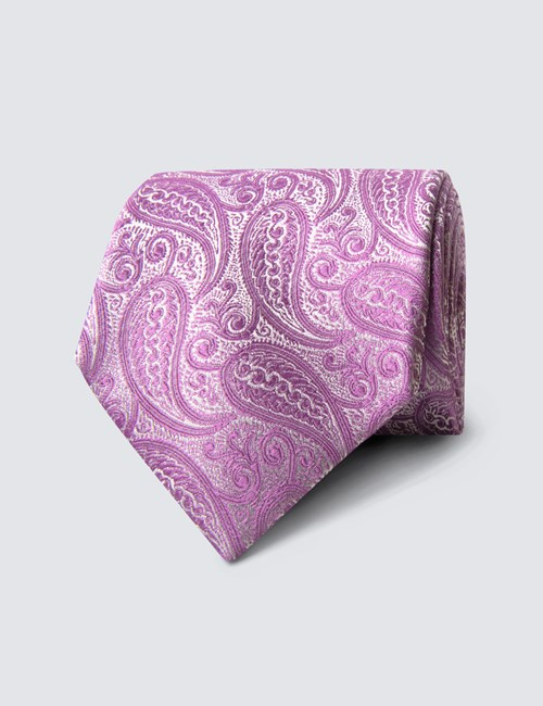 Men's Luxury Lilac Paisley Tie - 100% Silk