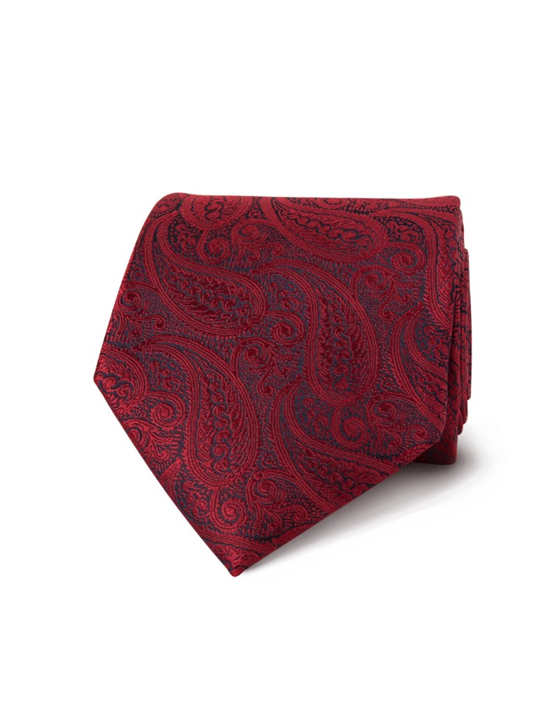 Men's Luxury Red Paisley Tie - 100% Silk