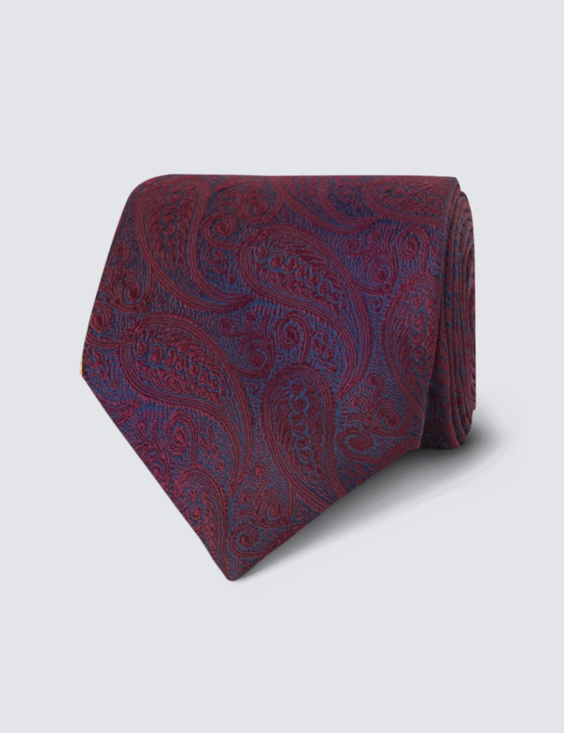 Men's Luxury Burgundy Paisley Tie - 100% Silk