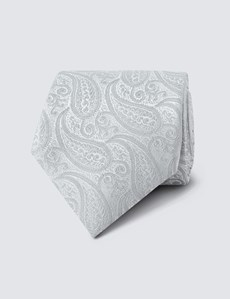 Men's Luxury Silver Paisley Tie - 100% Silk