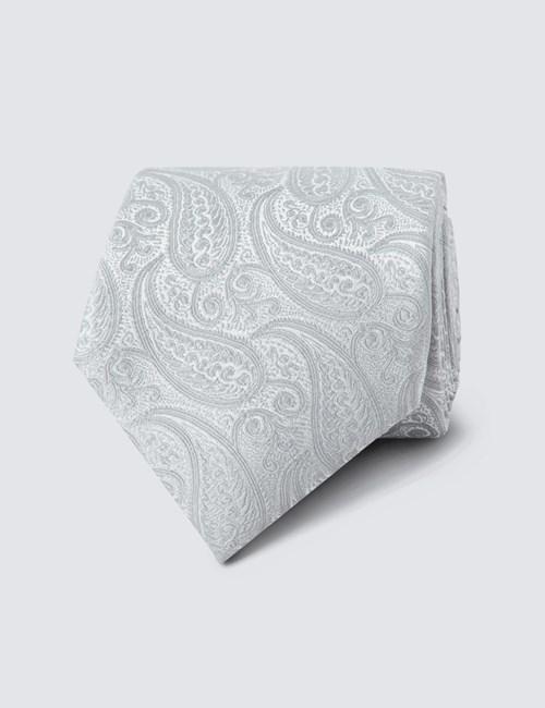 Men's Luxury Silver Paisley Tie - 100% Silk