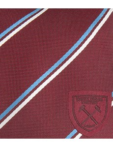 Men's Claret West Ham Club Stripe Tie - 100% Silk