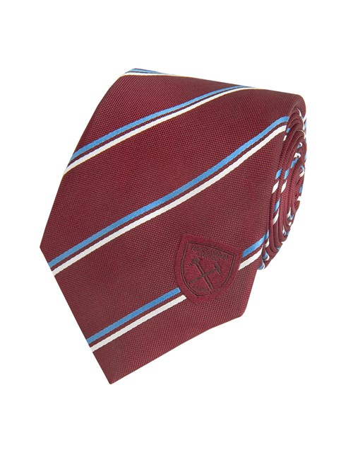 Men's Claret West Ham Club Stripe Tie 100% Silk