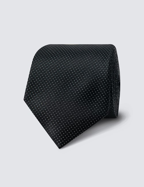 Men's Black Fine Spot 100% Silk Slim Fashion Tie