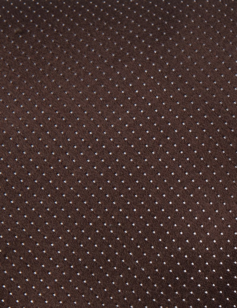 Men's Brown Fine Spot 100% Silk Slim Fashion Tie