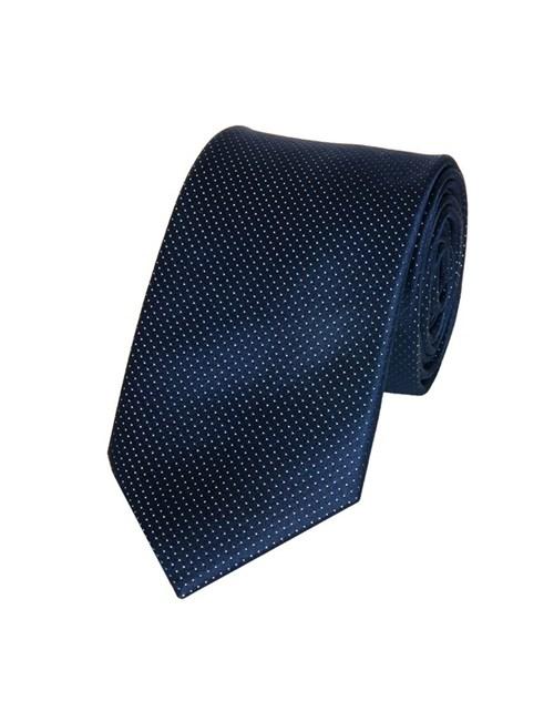 Krawatte aus feinster Seide – Blau mit Nadeltupfen Dessin