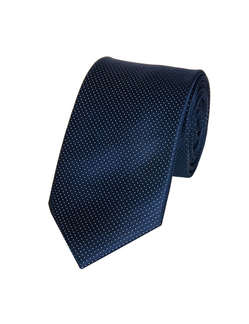 Men's Navy Fine Spot 100% Silk Slim Fashion Tie