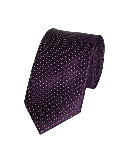 Krawatte – Seide – Schmal – Lila mit Nadeltupfen Dessin