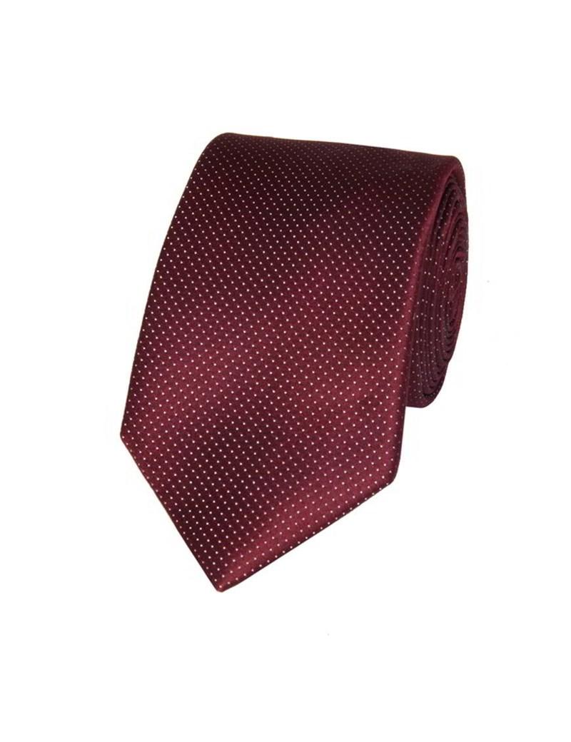 Men's Burgundy Fine Spot 100% Silk Slim Fashion Tie