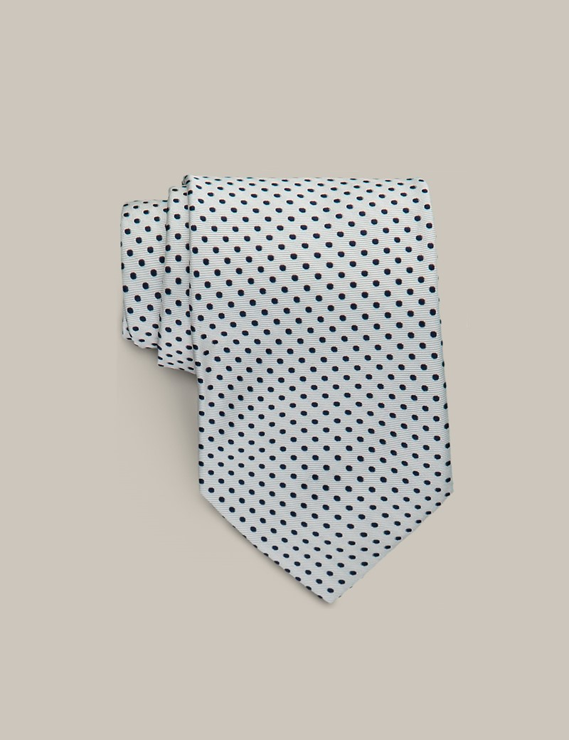 Mark Francis Kollektion - Krawatte – Seide – Schmal – Stecknadeltupfen creme