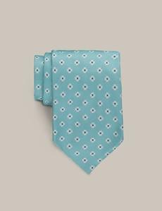 Men's Aqua Flower Tie - 100% Silk