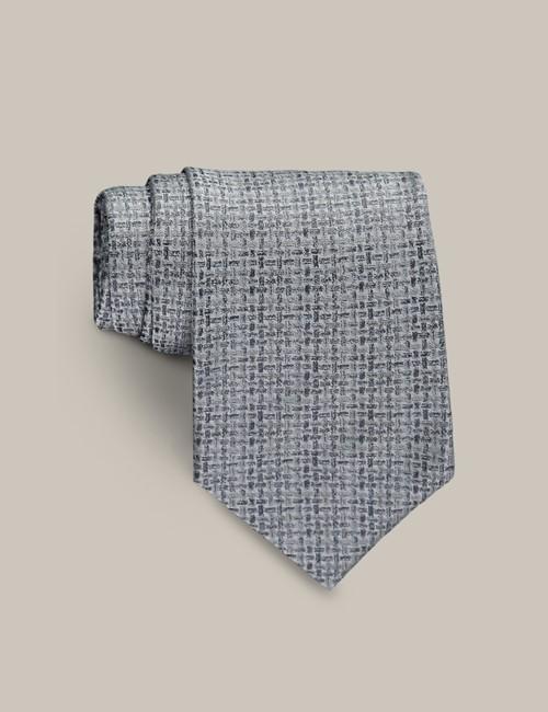 Men's Grey Lattice Tie - 100% Silk - Mark Francis Collection