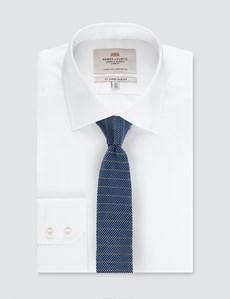 Men's Blue & White Stripe Silk Knitted Tie