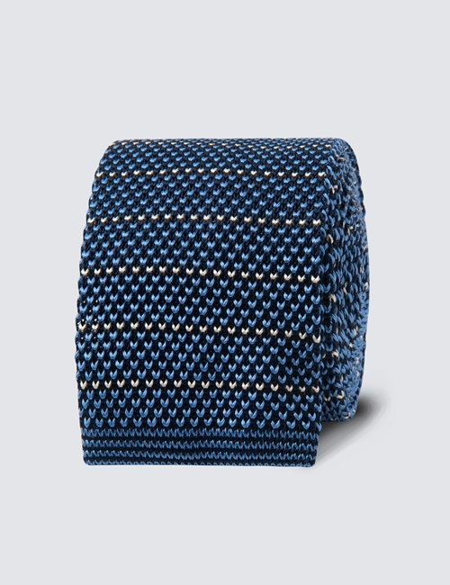 Men's Blue & White Stripe Silk Knitted Tie