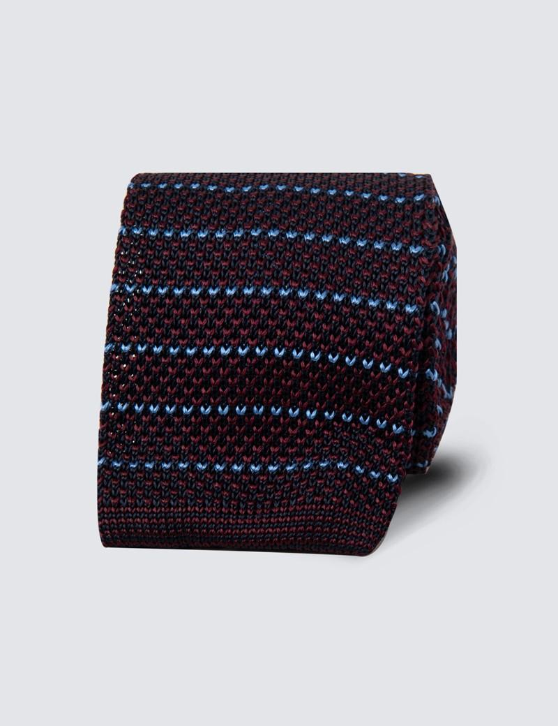 Schmale Strickkrawatte - Seide - Purpur & hellblau gestreift