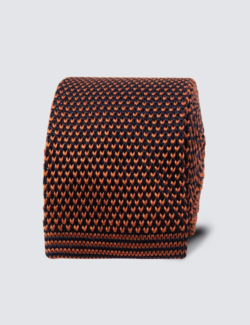 Men's Orange Semi Plain Knitted Tie - 100% Silk