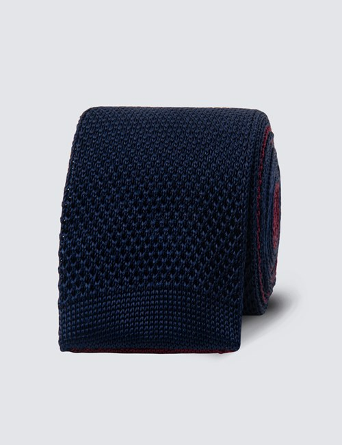 Men's Navy & wine Reversible Silk Knitted Tie