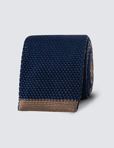 Men's Navy & Camel Reversible Knitted Tie- 100% Silk