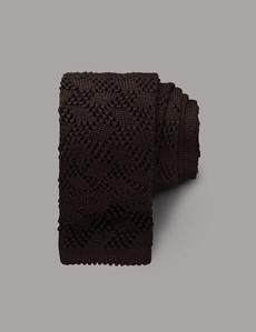 Men's Brown  Criss Cross Knitted Tie - 100% Wool