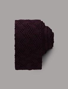 Men's Burgundy  Criss Cross Knitted Tie - 100% Wool