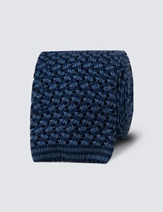 Men's Navy & Blue Two Tone Knitted Tie- 100% Silk