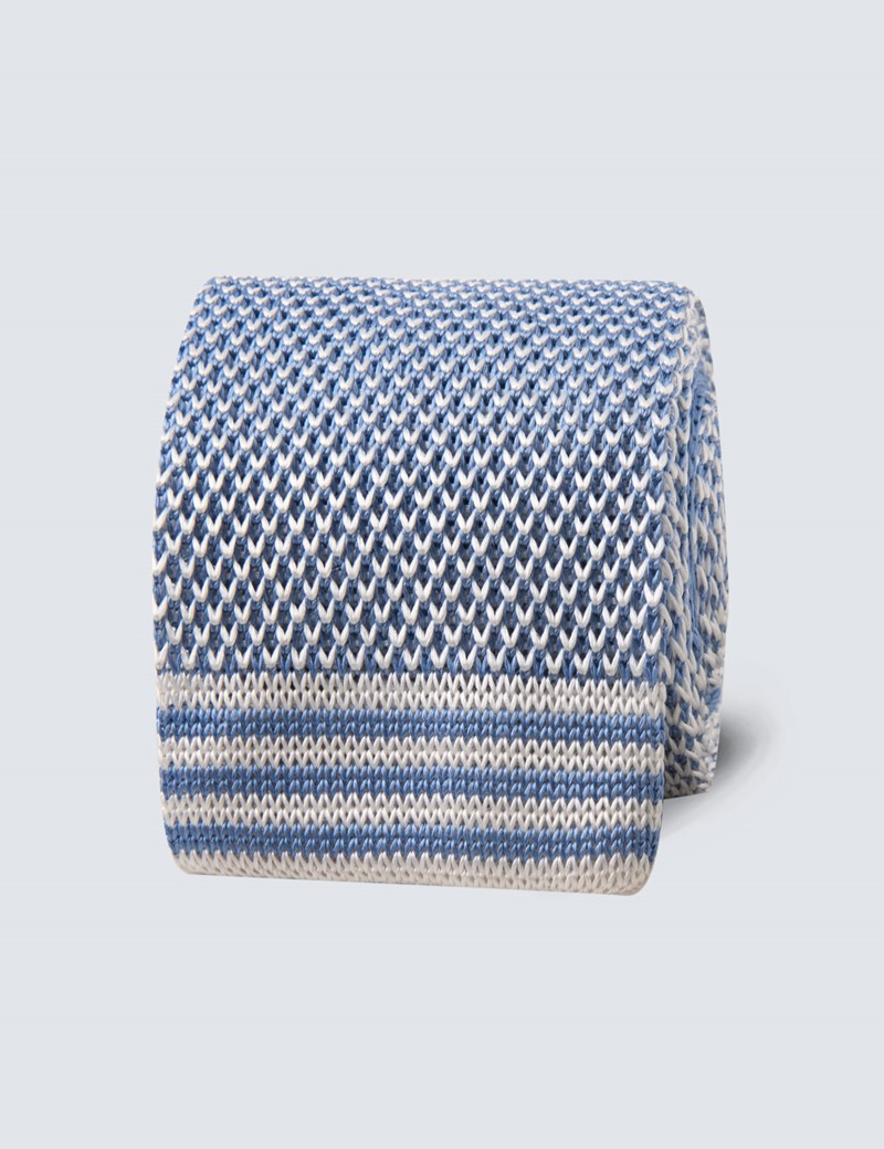 Men's Pastel Blue Knitted Tie - 100% Silk