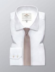 Men's Pastel Brown Knitted Tie - 100% Silk
